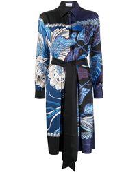 Ferragamo Abstract-print Silk Shirt Dress - Blue