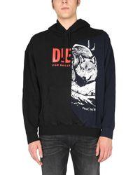 DIESEL S-blasty Cotton Jersey Sweatshirt With Graphic Insert - Black