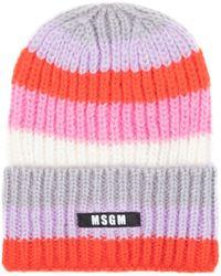MSGM Striped Cap With Logo Hat - Multicolour