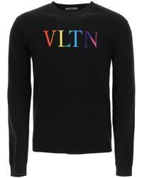 Valentino F12 Cashmere Wool Jumper With Vltn Intarsia L Wool - Black