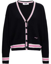 MSGM Cardigan In Wool And Cashmere With Contrast Profiles - Black