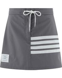 "Thom Browne ""4-bar"" Pleated Skirt - Gray"