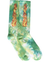 Palm Angels Socks With Flames Logo - Green