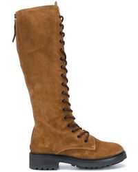 P.A.R.O.S.H. Suede Knee-length Boots - Brown