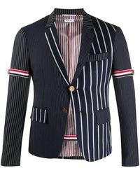 Thom Browne Navy/white Wool-blend Vertical-stripe Sports Blazer - Blue
