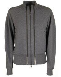Brunello Cucinelli Cotton Sweatshirt With Monili Stripes - Grey