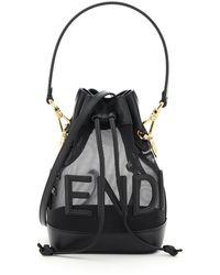 Fendi Mon Tresor Net Bucket Bag Script - Black