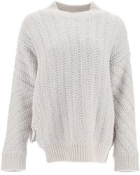 Stella McCartney Asymmetrical Herringbone Jumper 40 Wool - Grey
