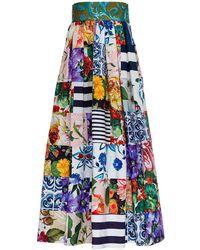Dolce & Gabbana Long Patchwork Cotton Poplin Skirt - Blue