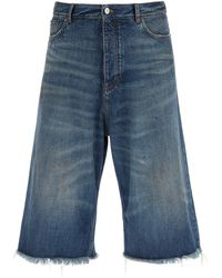 Balenciaga Wide-leg Denim Shorts - Blue