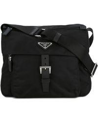Prada Logo Plaque Crossbody Bag - Black