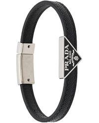 Prada Enamel Triangle Logo Bracelet - Black