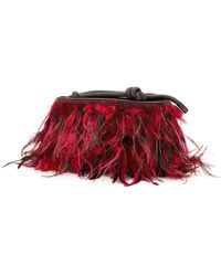 Dries Van Noten Crocodile Print Leather Clutch Feathers - Red