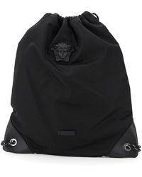 Versace Medusa Nylon Backpack Sack - Black
