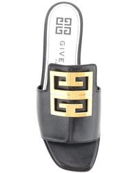 Givenchy Leather Mules With 4g Logo - Black