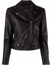 Pinko Black Leather Biker Jacket