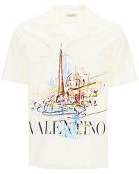 Valentino Roman Sketches Piazza Navona Shirt - White