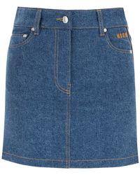 MSGM Denim Mini Skirt With Logo Bands - Blue
