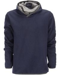 Sease Drone Hood - Virgin Wool And Nylon Jersey Hooded Sweatshirt - Blue