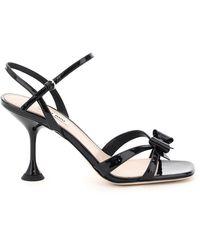 Miu Miu Patent Leather Bow Sandals - Black