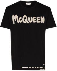 Alexander McQueen Mcqueen Graffiti T-shirt In Black