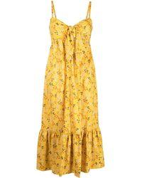 L'Autre Chose Floral Print Midi Dress - Yellow