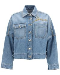 Lanvin Denim Jacket With Logo Embroidery - Blue