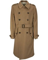 Lardini Double-breasted Camel Trench Coat With Belt - Natural