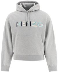 KENZO Sweatshirt With Multicolour Logo Embroidery S Cotton - Grey