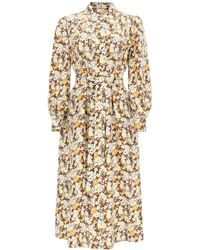 Tory Burch Long Shirt Dress In Floral Silk - Natural