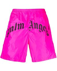 Palm Angels Curved Logo Swimming Shorts - Pink