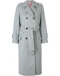 Thom Browne Pearl Trim Flannel Trench Coat - Grey