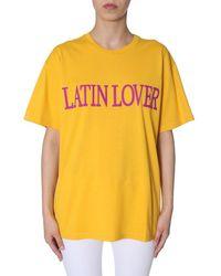 "Alberta Ferretti ""latin Lover""-print Cotton Oversized T-shirt - Yellow"