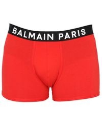 Balmain Boxer With Logoed Elastic - Red