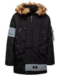 Alpha Industries N-3b Reflective Stripes Parka Jacket - Black
