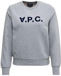 A.P.C. G Cotton Sweatshirt With Logo Print - Grey