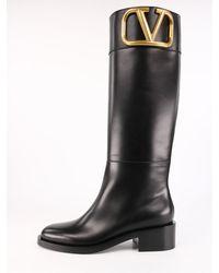 Valentino Garavani Leather Supervee Boot Black