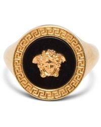 Versace - Oversize Medusa Gold And Black Ring - Lyst