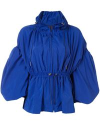 Enfold Drawstring Waist Jacket - Blue
