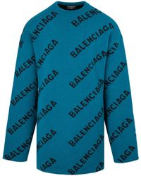Balenciaga Allover Logo Weater - Blue