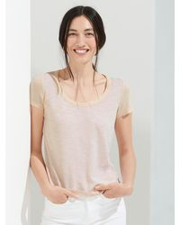 Banana Republic Slub Cotton-modal Scoop-neck T-shirt - Natural
