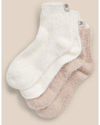 Banana Republic Fuzzy Ankle Sock 2-pack - Natural