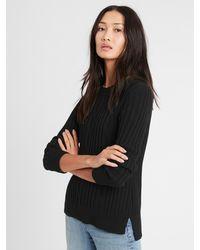 Banana Republic Chunky Cable-knit Sweater - Black