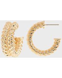 Banana Republic Braided Twist Hoop Earrings - Metallic