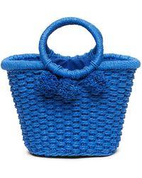 Banana Republic Pom Pom Straw Bucket Bag - Blue