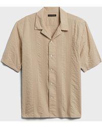 Banana Republic Pleated Resort Shirt - Natural