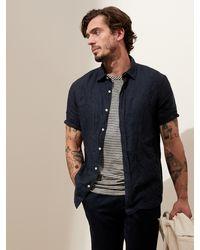 Banana Republic Untucked Slim-fit Linen-cotton Shirt - Blue