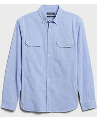 Banana Republic Untucked Standard-fit Chambray Shirt - Blue