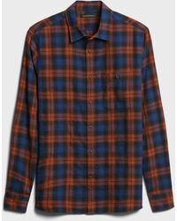 Banana Republic Untucked Slim-fit Crinkle Flannel Shirt - Multicolor