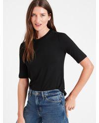 Banana Republic Threadsoft Elbow-sleeve T-shirt - Black